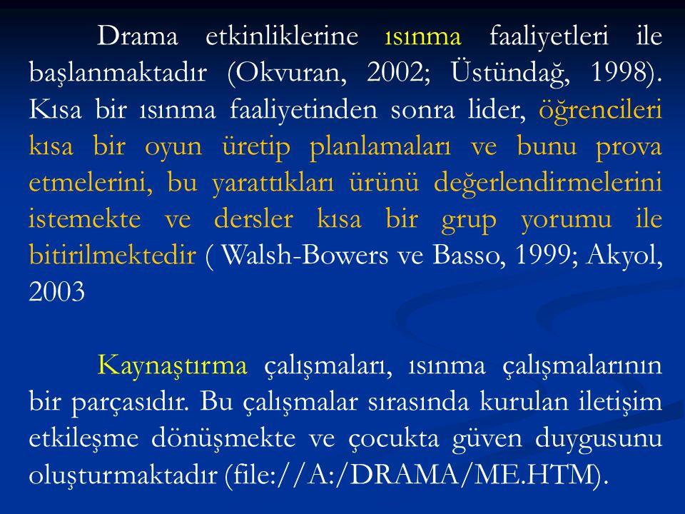 Drama etkinliklerine ısınma faaliyetleri ile başlanmaktadır (Okvuran, 2002; Üstündağ, 1998).