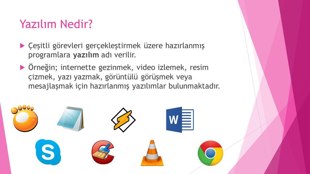 Yazılım Nedir?  Çeşitli görevleri gerçekleştirmek üzere hazırlanmış programlara yazılım adı verilir.  Örneğin; internette gezinmek, video izlemek, r