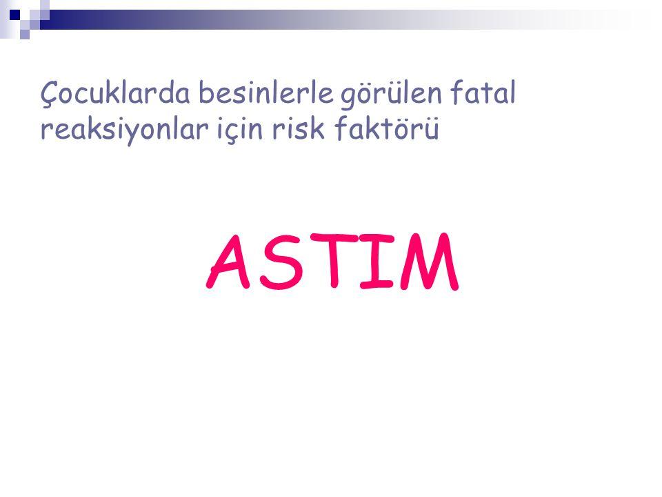 Çocuklarda besinlerle görülen fatal reaksiyonlar için risk faktörü ASTIM