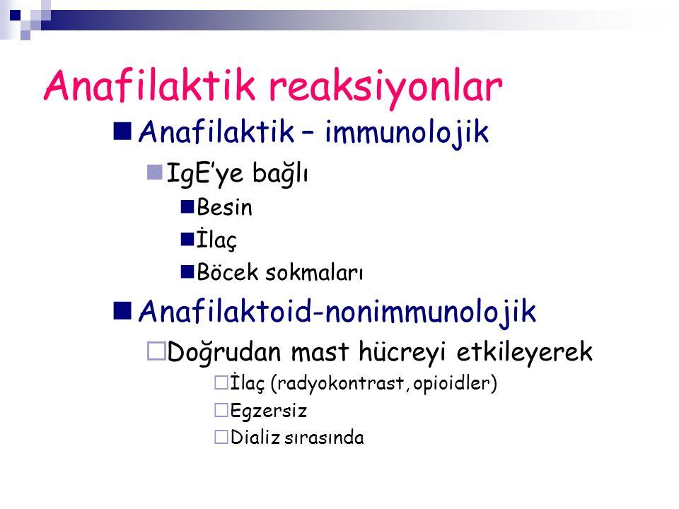 Anafilaktik reaksiyonlar Anafilaktik – immunolojik IgE'ye bağlı Besin İlaç Böcek sokmaları Anafilaktoid-nonimmunolojik  Doğrudan mast hücreyi etkileyerek  İlaç (radyokontrast, opioidler)  Egzersiz  Dializ sırasında