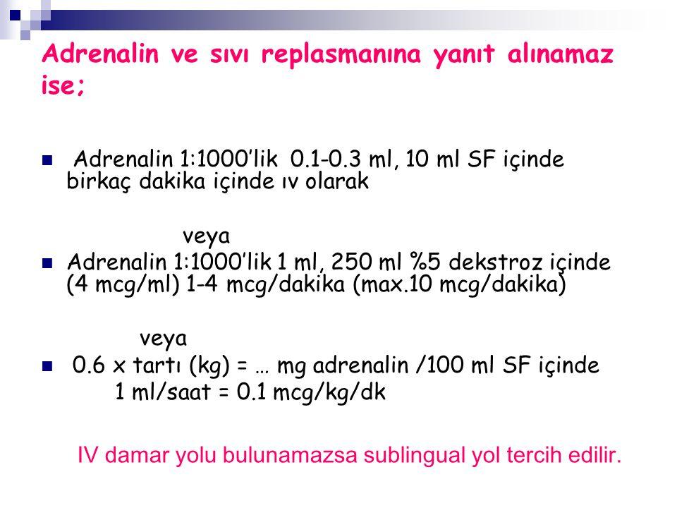 Adrenalin ve sıvı replasmanına yanıt alınamaz ise; Adrenalin 1:1000'lik 0.1-0.3 ml, 10 ml SF içinde birkaç dakika içinde ıv olarak veya Adrenalin 1:1000'lik 1 ml, 250 ml %5 dekstroz içinde (4 mcg/ml) 1-4 mcg/dakika (max.10 mcg/dakika) veya 0.6 x tartı (kg) = … mg adrenalin /100 ml SF içinde 1 ml/saat = 0.1 mcg/kg/dk IV damar yolu bulunamazsa sublingual yol tercih edilir.