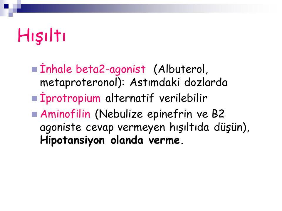 Hışıltı İnhale beta2-agonist (Albuterol, metaproteronol): Astımdaki dozlarda İprotropium alternatif verilebilir Aminofilin (Nebulize epinefrin ve B2 agoniste cevap vermeyen hışıltıda düşün), Hipotansiyon olanda verme.