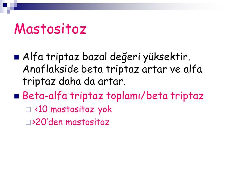 Mastositoz Alfa triptaz bazal değeri yüksektir.