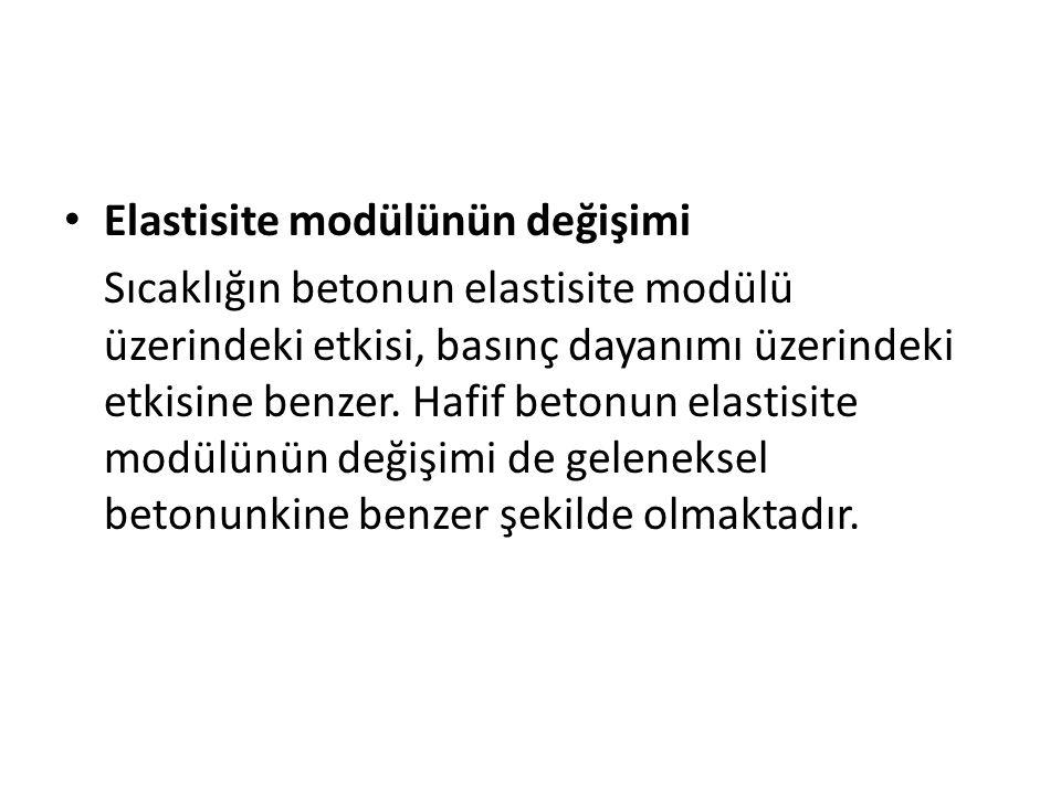 Elastisite modülünün değişimi Sıcaklığın betonun elastisite modülü üzerindeki etkisi, basınç dayanımı üzerindeki etkisine benzer. Hafif betonun elasti