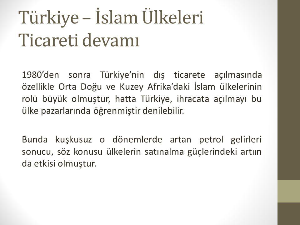 Türkiye – İslam Ülkeleri Ticareti devamı 1980'den sonra Türkiye'nin dış ticarete açılmasında özellikle Orta Doğu ve Kuzey Afrika'daki İslam ülkelerinin rolü büyük olmuştur, hatta Türkiye, ihracata açılmayı bu ülke pazarlarında öğrenmiştir denilebilir.