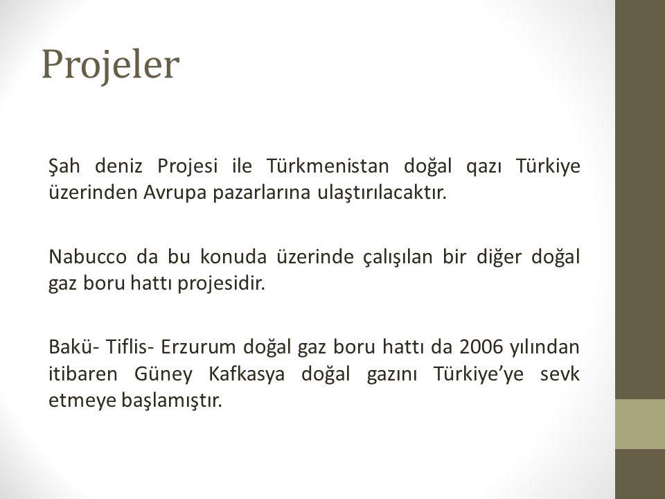 Projeler Şah deniz Projesi ile Türkmenistan doğal qazı Türkiye üzerinden Avrupa pazarlarına ulaştırılacaktır.