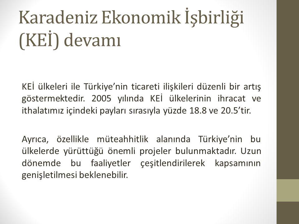 Karadeniz Ekonomik İşbirliği (KEİ) devamı KEİ ülkeleri ile Türkiye'nin ticareti ilişkileri düzenli bir artış göstermektedir.