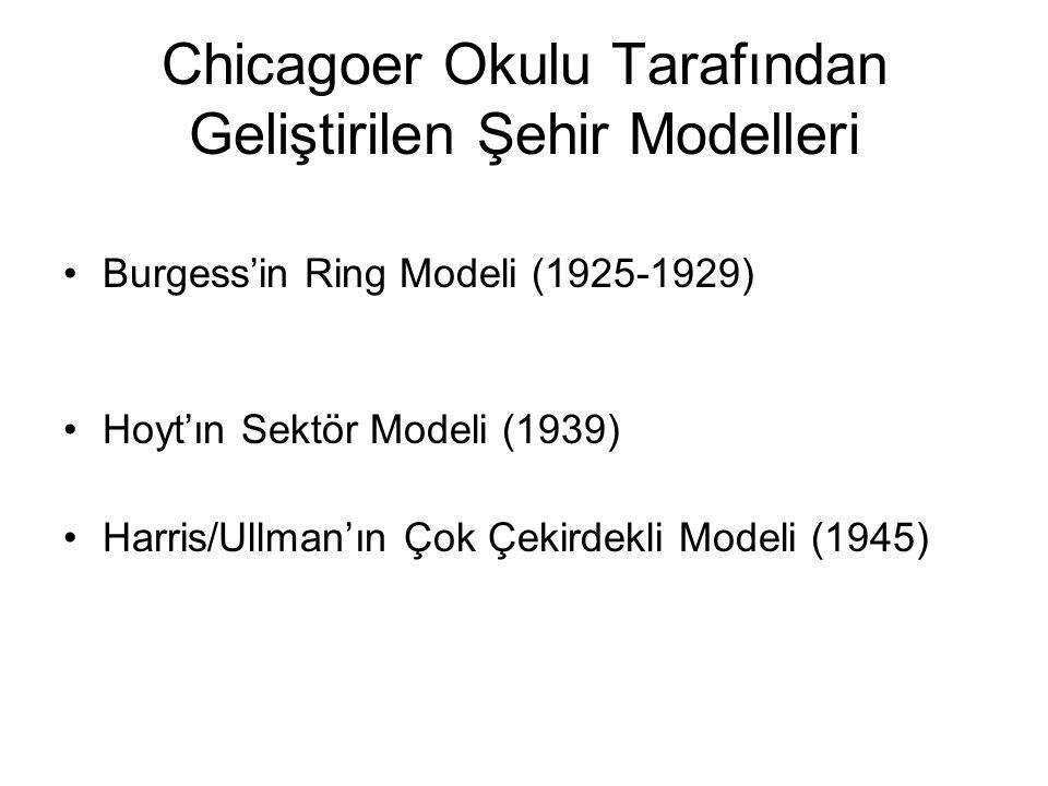 Chicagoer Okulu Tarafından Geliştirilen Şehir Modelleri Burgess'in Ring Modeli (1925-1929) Hoyt'ın Sektör Modeli (1939) Harris/Ullman'ın Çok Çekirdekli Modeli (1945)