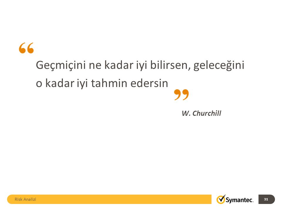 Geçmiçini ne kadar iyi bilirsen, geleceğini o kadar iyi tahmin edersin W. Churchill Risk Analizi 31