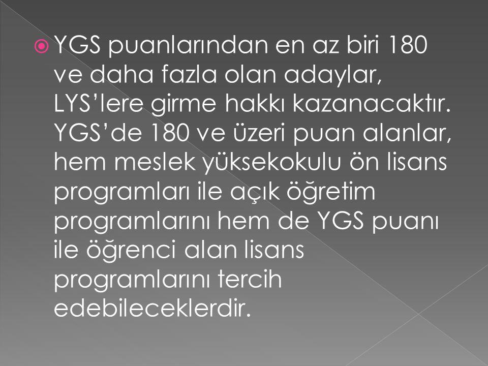  YGS puanlarından en az biri 180 ve daha fazla olan adaylar, LYS'lere girme hakkı kazanacaktır.