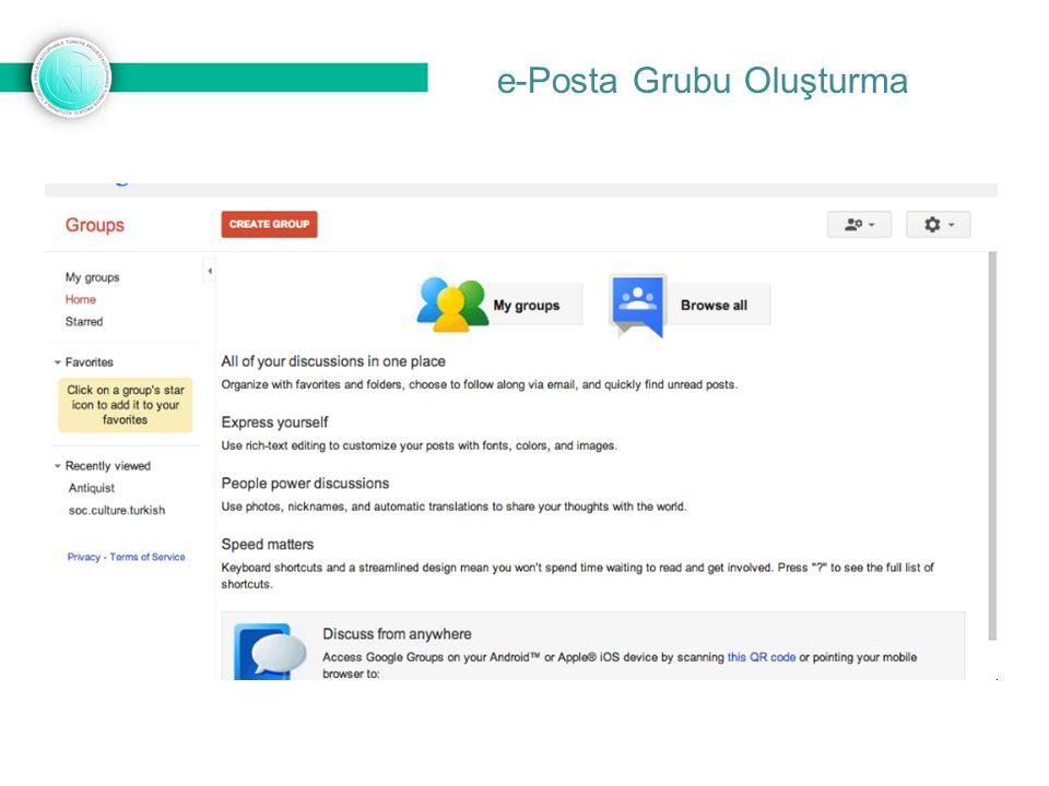 e-Posta Grubu Oluşturma