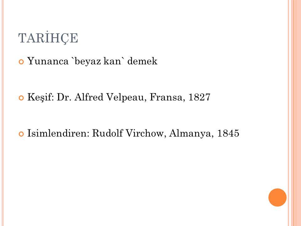 TARİHÇE Yunanca `beyaz kan` demek Keşif: Dr. Alfred Velpeau, Fransa, 1827 Isimlendiren: Rudolf Virchow, Almanya, 1845
