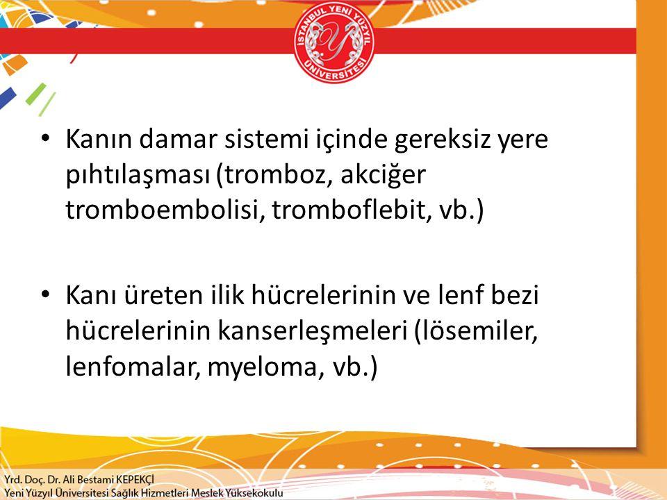 Kanın damar sistemi içinde gereksiz yere pıhtılaşması (tromboz, akciğer tromboembolisi, tromboflebit, vb.) Kanı üreten ilik hücrelerinin ve lenf bezi hücrelerinin kanserleşmeleri (lösemiler, lenfomalar, myeloma, vb.)