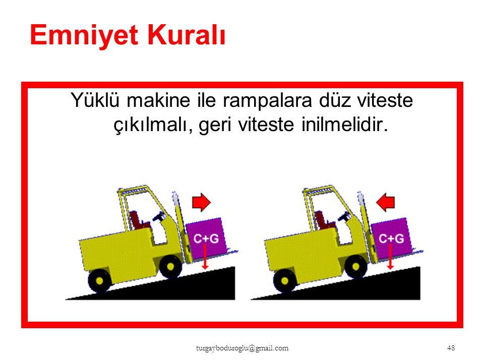 Emniyet Kuralı Boş makine ile rampalara geri viteste çıkılmalıdır. 47 turgayboduroglu@gmail.com