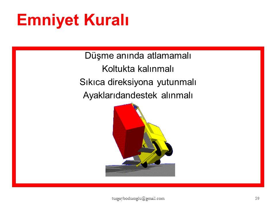 Emniyet Kuralı Ellerve ayaklar sarkıtılmamalı 58 turgayboduroglu@gmail.com
