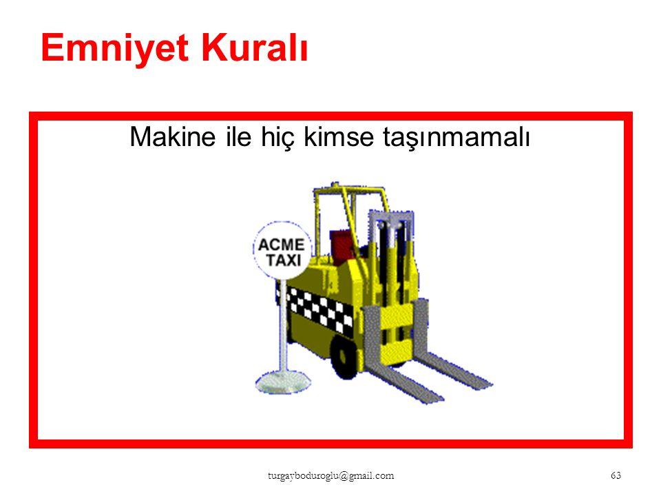 Emniyet Kuralı Hiç kimsenin yükseltilmiş çatalın altına girmesine izin verilmemeli 62 turgayboduroglu@gmail.com