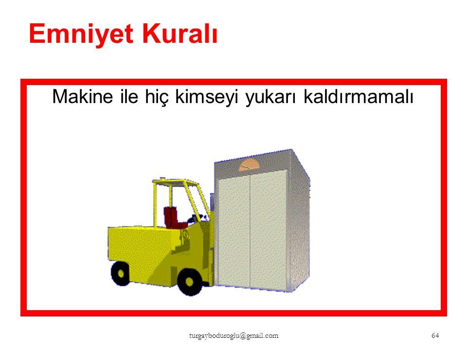 Emniyet Kuralı Makine ile hiç kimse taşınmamalı 63 turgayboduroglu@gmail.com