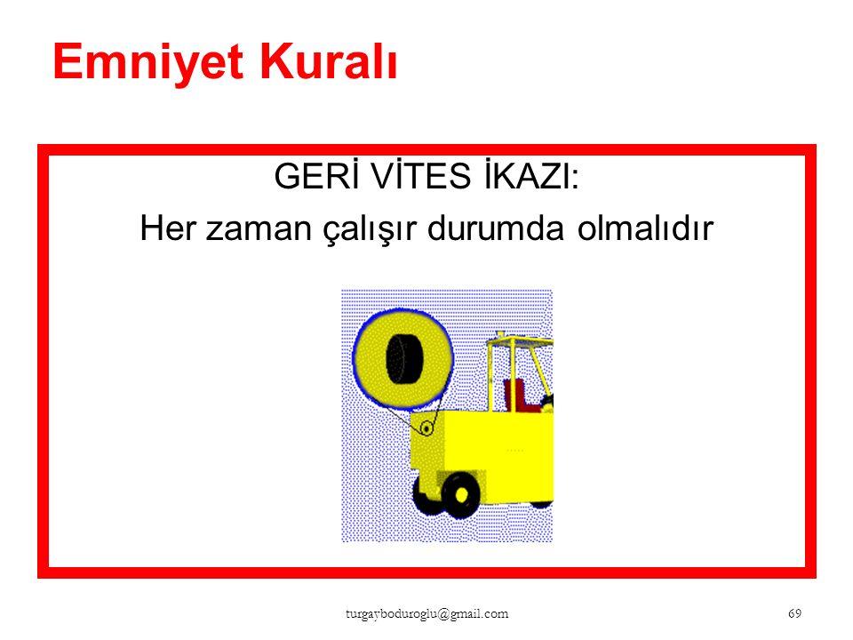 Emniyet Kuralı KORNA: Kavşaklarda, kapılardan geçerken, görüntü kapalı iken 68 turgayboduroglu@gmail.com