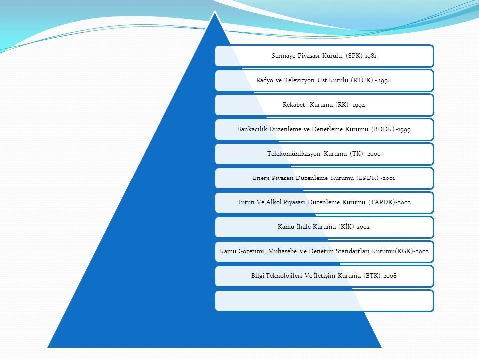 Sermaye Piyasası Kurulu (SPK)-1981Radyo ve Televizyon Üst Kurulu (RTÜK) - 1994Rekabet Kurumu (RK) -1994Bankacılık Düzenleme ve Denetleme Kurumu (BDDK) -1999Telekomünikasyon Kurumu (TK) -2000Enerji Piyasası Düzenleme Kurumu (EPDK) -2001Tütün Ve Alkol Piyasası Düzenleme Kurumu (TAPDK)-2002Kamu İhale Kurumu (KİK)-2002Kamu Gözetimi, Muhasebe Ve Denetim Standartları Kurumu(KGK)-2002Bilgi Teknolojileri Ve İletişim Kurumu (BTK)-2008