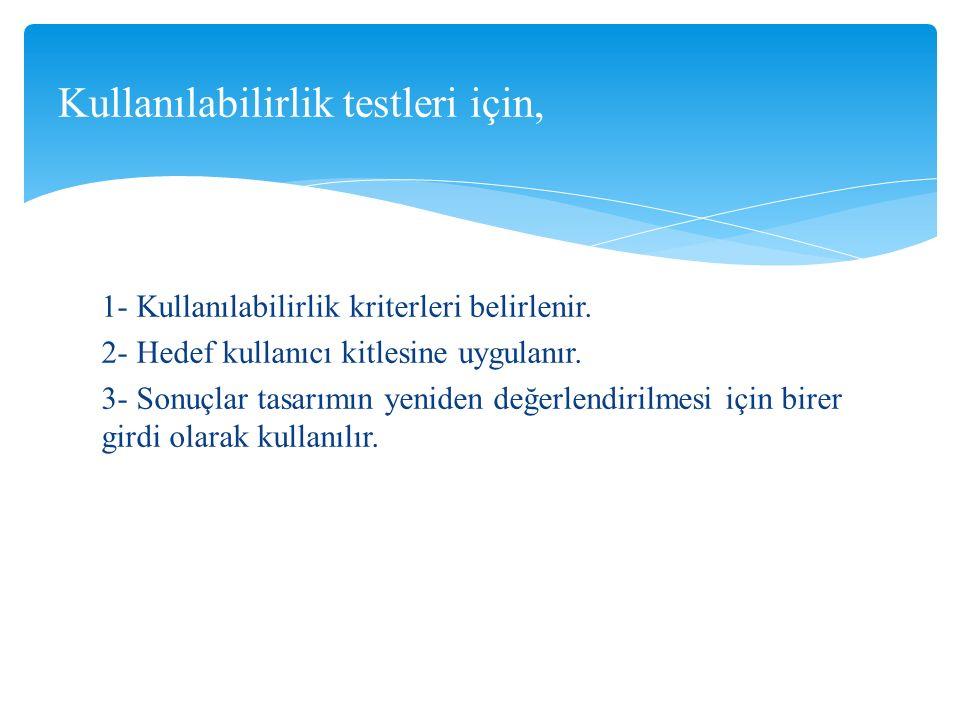 NOT: Son kullanıcı ile birebir yapılan uygulamalı kullanılabilirlik testlerinin yanı sıra daha hızlı sonuç almaya yönelik olarak anket tarzı kullanılabilirlik test araçları da geliştirilmiştir.