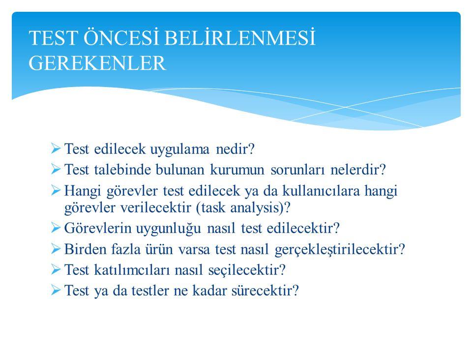  Test edilecek uygulama nedir?  Test talebinde bulunan kurumun sorunları nelerdir?  Hangi görevler test edilecek ya da kullanıcılara hangi görevler