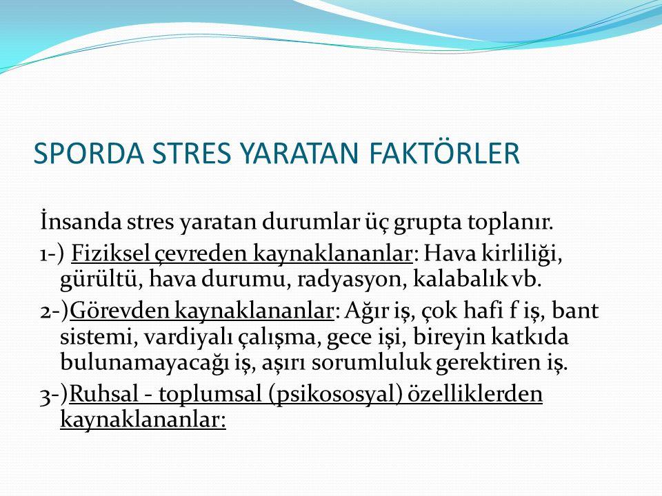 SPORDA STRES YARATAN FAKTÖRLER İnsanda stres yaratan durumlar üç grupta toplanır. 1-) Fiziksel çevreden kaynaklananlar: Hava kirliliği, gürültü, hava