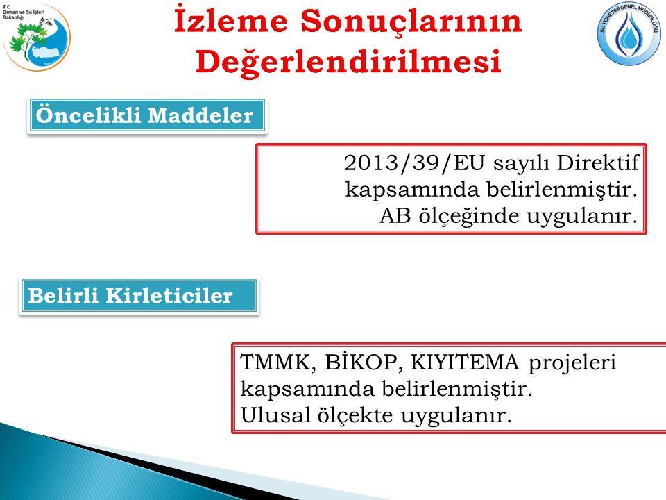 Öncelikli Maddeler 2013/39/EU sayılı Direktif kapsamında belirlenmiştir.