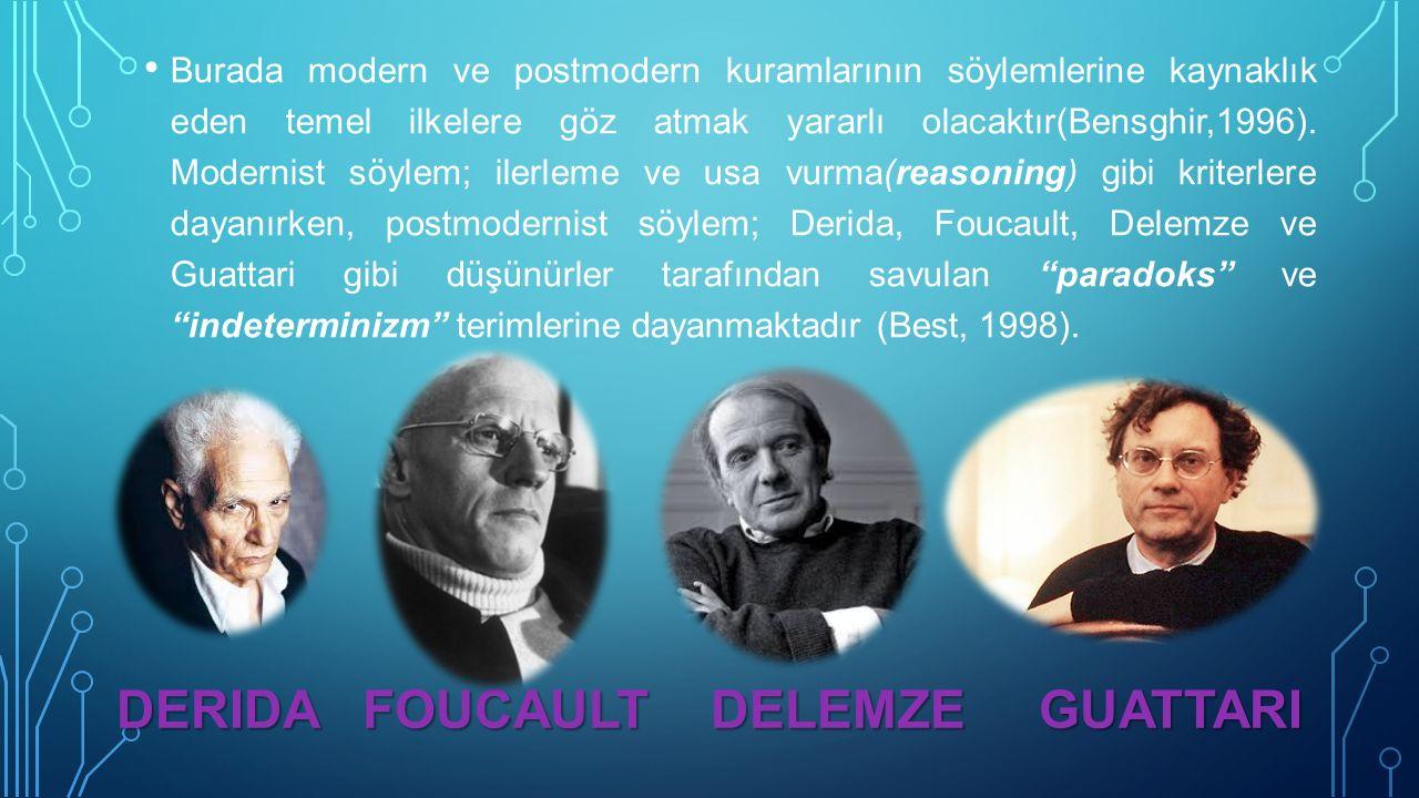 Burada modern ve postmodern kuramlarının söylemlerine kaynaklık eden temel ilkelere göz atmak yararlı olacaktır(Bensghir,1996).