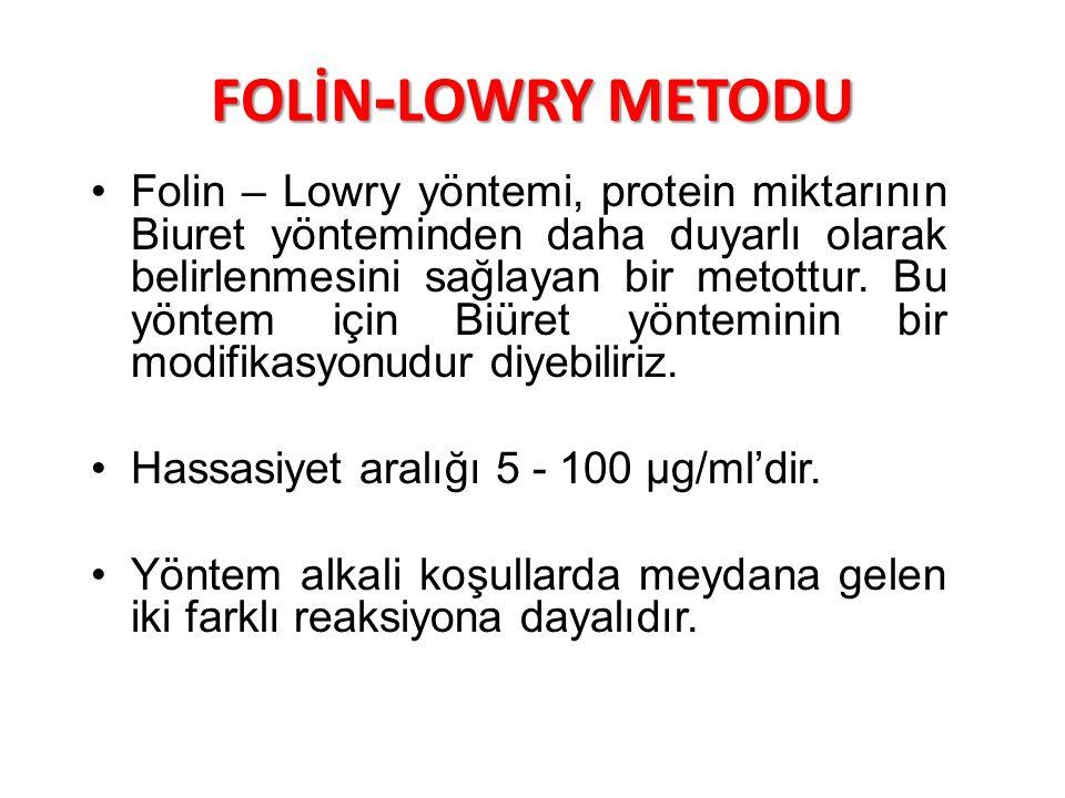 FOLİN-LOWRY METODU Folin – Lowry yöntemi, protein miktarının Biuret yönteminden daha duyarlı olarak belirlenmesini sağlayan bir metottur. Bu yöntem iç