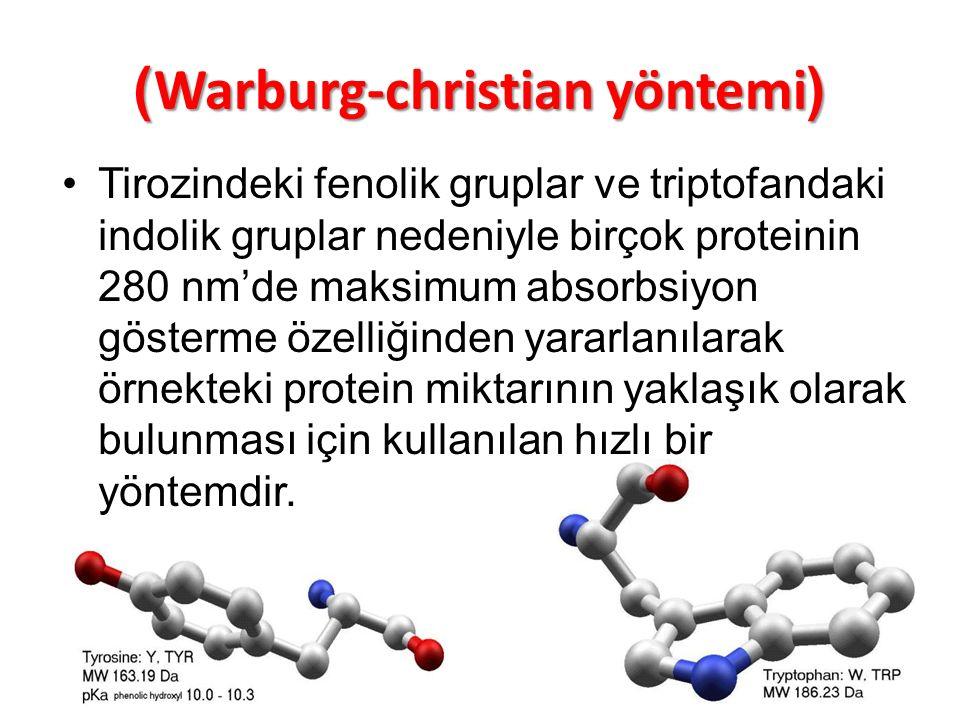 )Warburg-christian yöntemi( Tirozindeki fenolik gruplar ve triptofandaki indolik gruplar nedeniyle birçok proteinin 280 nm'de maksimum absorbsiyon gös