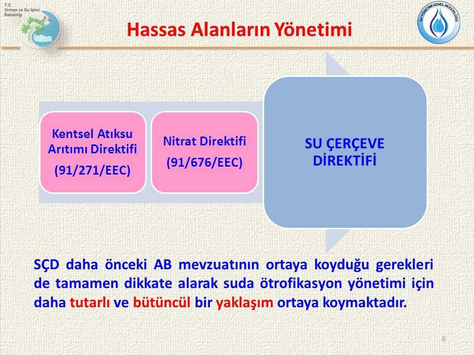 Hassas Alanların Yönetimi 6 Kentsel Atıksu Arıtımı Direktifi (91/271/EEC) Nitrat Direktifi (91/676/EEC) SU ÇERÇEVE DİREKTİFİ SÇD daha önceki AB mevzua