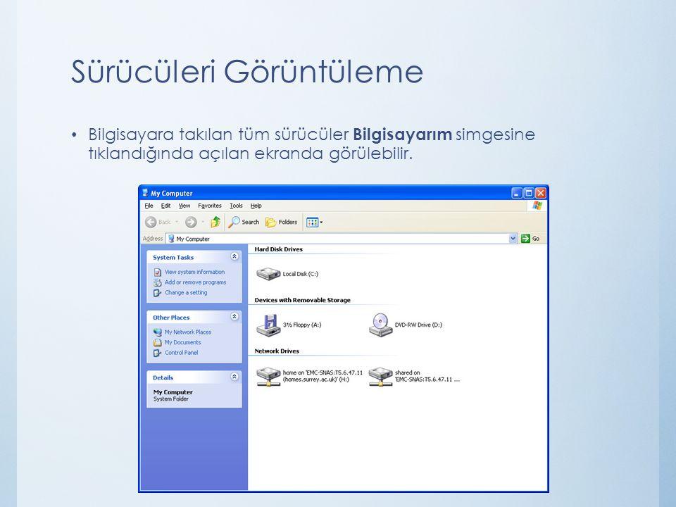 Sürücüleri Görüntüleme Bilgisayara takılan tüm sürücüler Bilgisayarım simgesine tıklandığında açılan ekranda görülebilir.