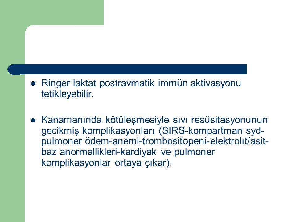 Ringer laktat postravmatik immün aktivasyonu tetikleyebilir. Kanamanında kötüleşmesiyle sıvı resüsitasyonunun gecikmiş komplikasyonları (SIRS-kompartm
