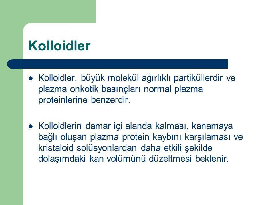 Kolloidler Kolloidler, büyük molekül ağırlıklı partiküllerdir ve plazma onkotik basınçları normal plazma proteinlerine benzerdir. Kolloidlerin damar i