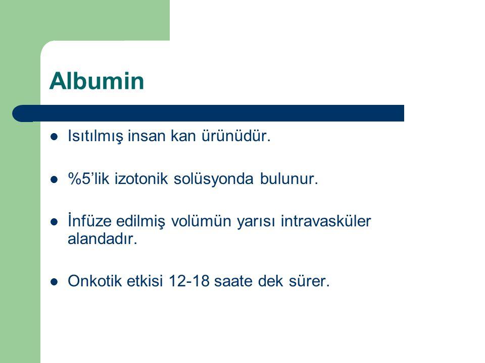 Albumin Isıtılmış insan kan ürünüdür. %5'lik izotonik solüsyonda bulunur.