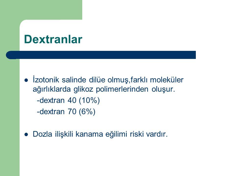 Dextranlar İzotonik salinde dilüe olmuş,farklı moleküler ağırlıklarda glikoz polimerlerinden oluşur. -dextran 40 (10%) -dextran 70 (6%) Dozla ilişkili