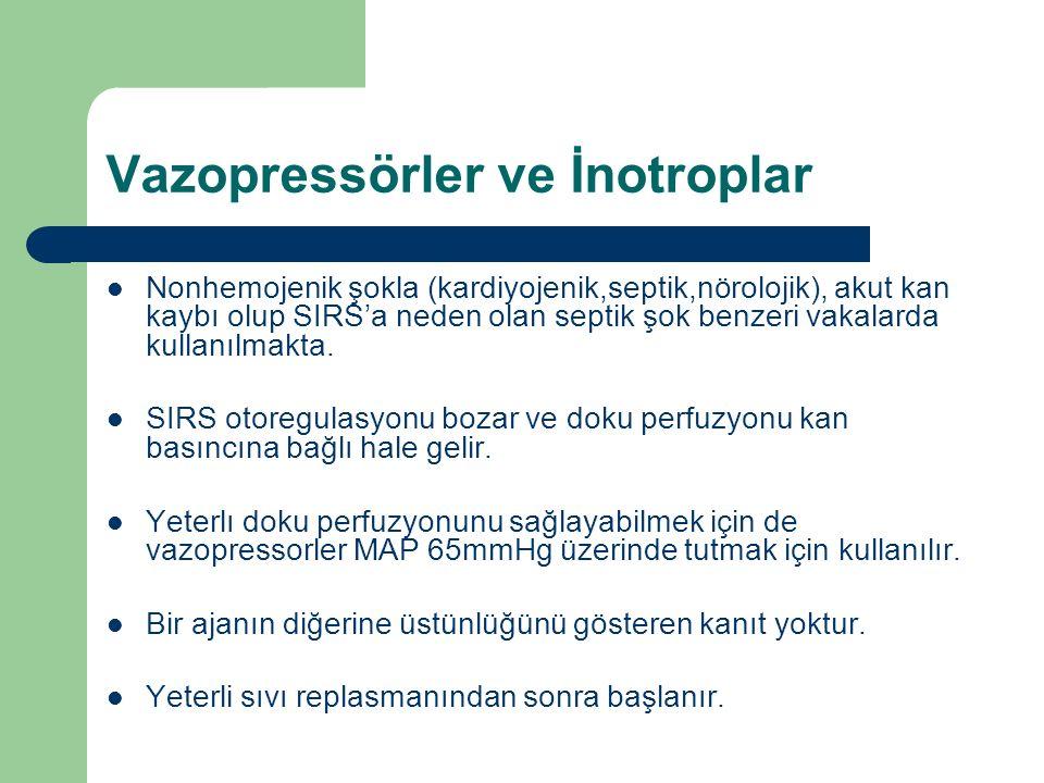 Vazopressörler ve İnotroplar Nonhemojenik şokla (kardiyojenik,septik,nörolojik), akut kan kaybı olup SIRS'a neden olan septik şok benzeri vakalarda kullanılmakta.