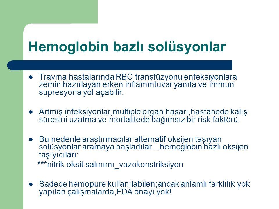 Hemoglobin bazlı solüsyonlar Travma hastalarında RBC transfüzyonu enfeksiyonlara zemin hazırlayan erken inflammtuvar yanıta ve immun supresyona yol açabilir.