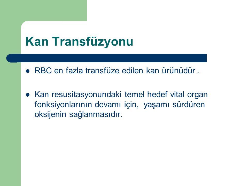 Kan Transfüzyonu RBC en fazla transfüze edilen kan ürünüdür. Kan resusitasyonundaki temel hedef vital organ fonksiyonlarının devamı için, yaşamı sürdü