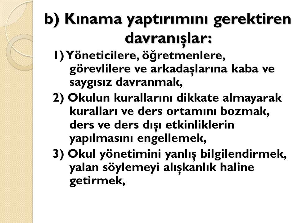 b) Kınama yaptırımını gerektiren davranışlar: 1) Yöneticilere, ö ğ retmenlere, görevlilere ve arkadaşlarına kaba ve saygısız davranmak, 2) Okulun kura