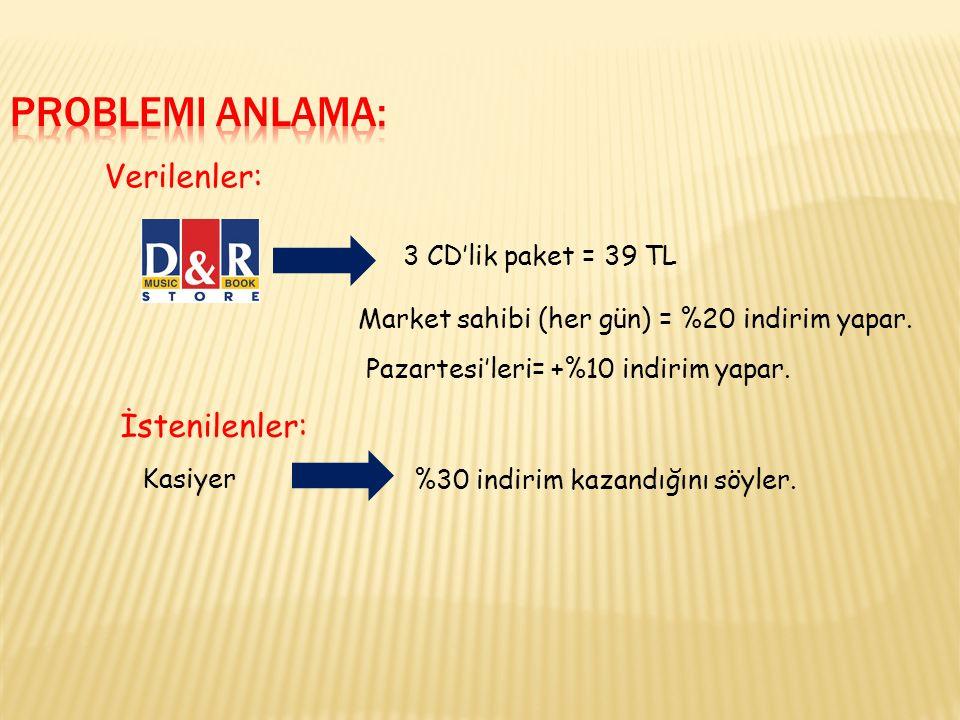 Verilenler: İstenilenler: 3 CD'lik paket = 39 TL Market sahibi (her gün) = %20 indirim yapar.