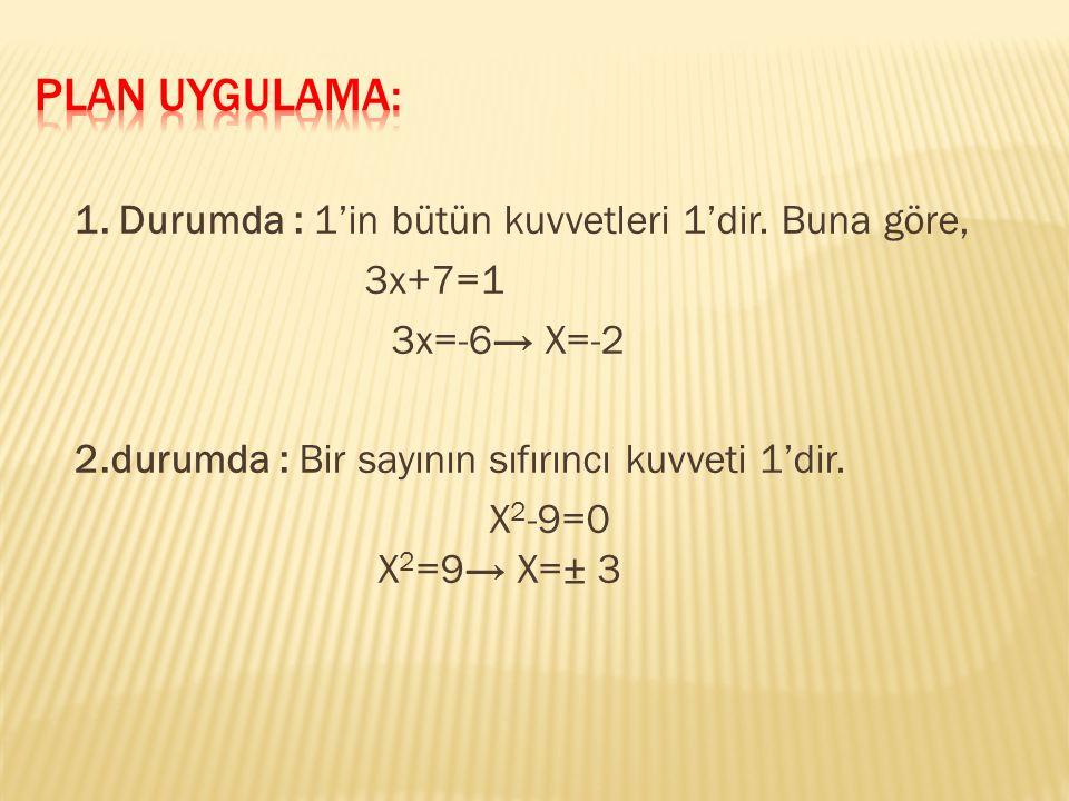 1. Durumda : 1'in bütün kuvvetleri 1'dir.
