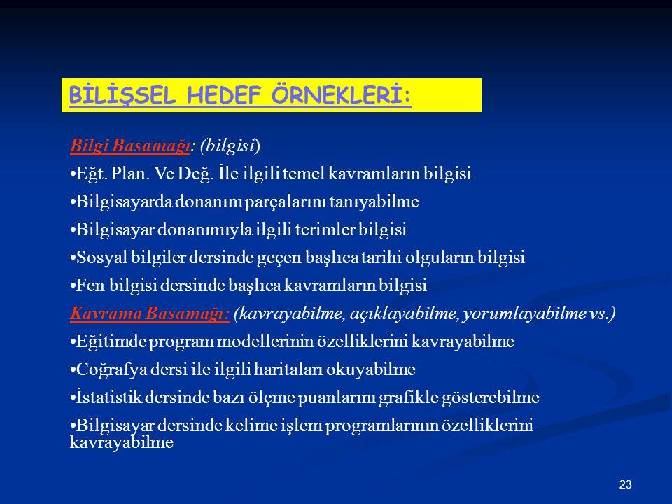 23 Bilgi Basamağı: (bilgisi) Eğt. Plan. Ve Değ.