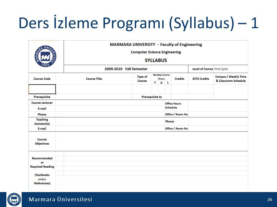 Marmara Üniversitesi Ders İzleme Programı (Syllabus) – 1 26