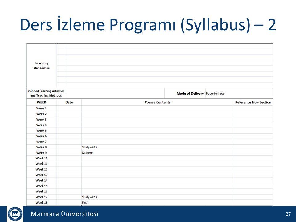 Marmara Üniversitesi Ders İzleme Programı (Syllabus) – 2 27