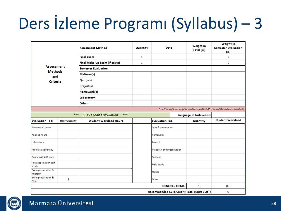 Marmara Üniversitesi Müfredat – 1 714 programa ait müfredatlar tek tek çalışıldı – Ortak ders kod sistematiği oluşturuldu – Ortak içerik, syllabus yapısı geliştirildi – Ders kataloğu oluşturuldu – Ders müfredatları tamamen elden geçirilerek yeniden düzenlendi – ECTS kredileri çalışıldı Önlisans ve Lisans – 175 program – 17.608 satır, 19 sütun – Her bir birimle ortalama 5 kez ortalama 5 saat çalışıldı Lisansüstü – 539 program – 9.768 satır, 20 sütun – Her bir anabilim/anasanat dalıyla ortalama 8 kez 5 saat çalışıldı Bu süreçte 27.376 derse ait 19 farklı veri elden geçirildi – Ders adetleri büyük oranda azaltıldı 14.678 (8.292 + 6.386) farklı ders – Türkiye'de sayılı üniversitelerde olan Ders Kataloğu oluşturuldu 29