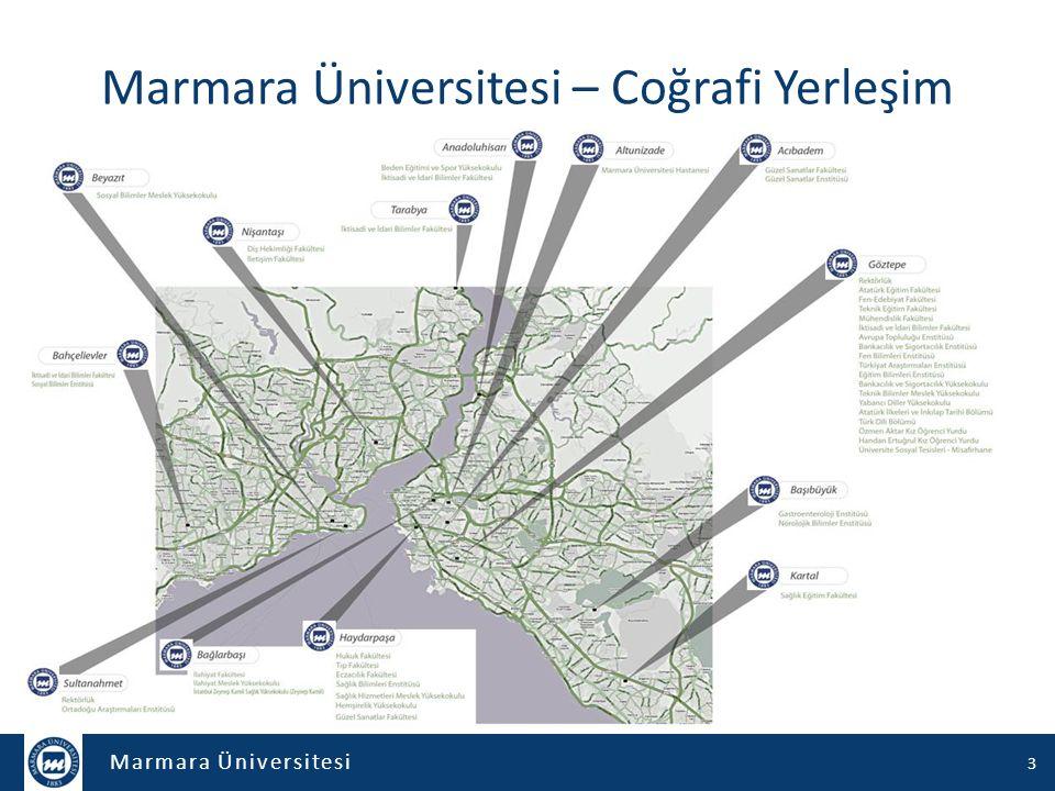 Marmara Üniversitesi 14 Yerleşke Aktif Birimler – 13 fakülte – 3 yüksekokul – 4 meslek yüksekokulu – 11 enstitü 2.800 Akademik personel 60.000 Öğrenci 714 Programda eğitim 45 önlisans 130 lisans 232 tezli yüksek lisans 98 tezsiz yüksek lisans 42 lisans dereceli doktora 167 doktora/sanatta yeterlik 4
