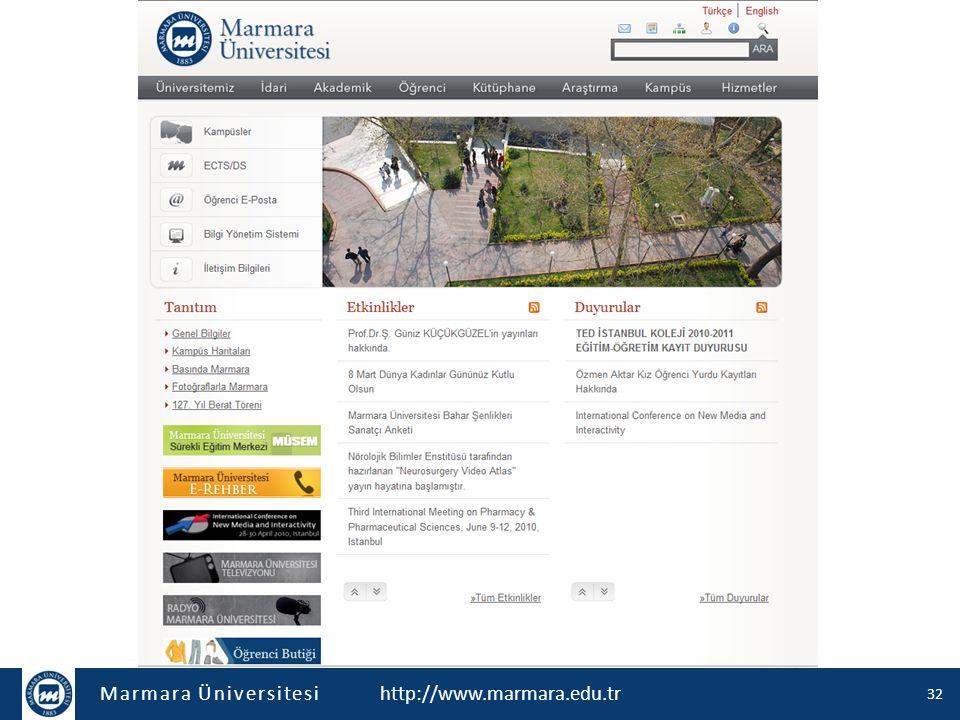 Marmara Üniversitesi http://www.marmara.edu.tr 32