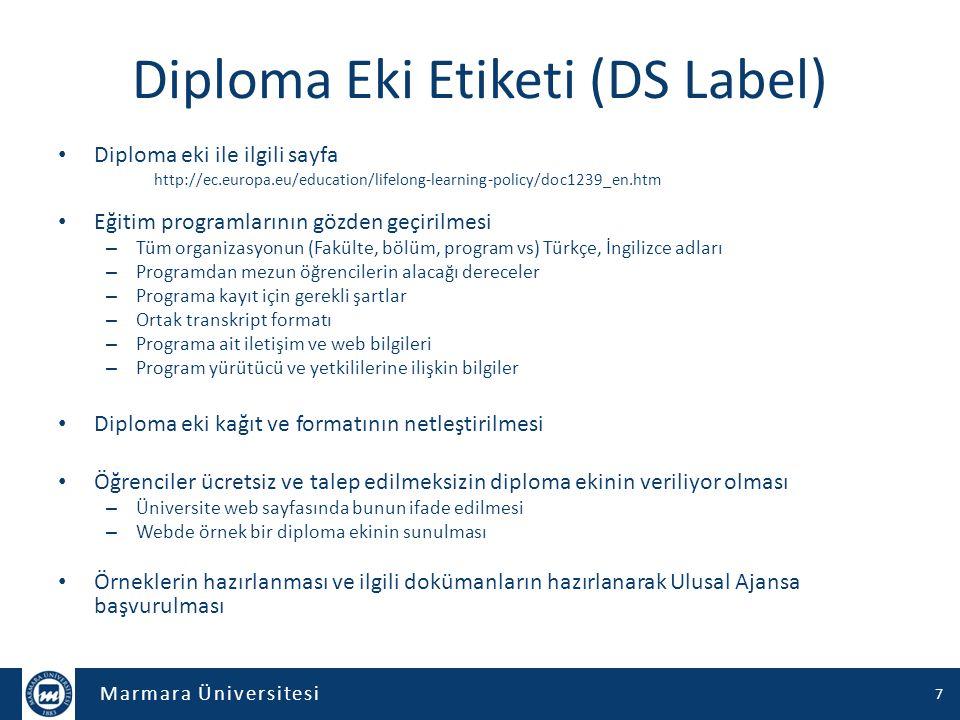 Marmara Üniversitesi Diploma Eki Etiketi (DS Label) Diploma eki ile ilgili sayfa http://ec.europa.eu/education/lifelong-learning-policy/doc1239_en.htm