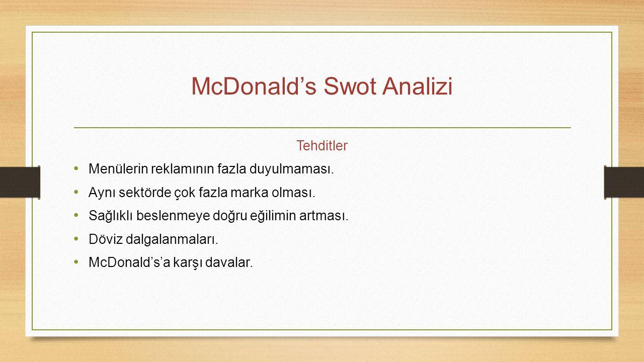 McDonald's Swot Analizi Tehditler Menülerin reklamının fazla duyulmaması. Aynı sektörde çok fazla marka olması. Sağlıklı beslenmeye doğru eğilimin art